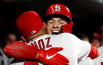 St. Louis Cardinals' Tyler O'Neill, right, is congratulated by teammate Yairo Munoz after hitting a two-run home run during the fifth inning of a baseball game against the Pittsburgh Pirates, Monday, July 15, 2019, in St. Louis. (AP Photo/Jeff Roberson)