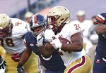 Boston College running back Pat Garwo III (24) carries against Virginia during an NCAA college football game Saturday, Dec. 5, 2020, in Charlottesville, Va. (Erin Edgerton/The Daily Progress via AP)