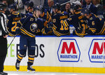 Buffalo Sabres forward Curtis Lazar (27) celebrates his goal during the second period of an NHL hockey game against the Carolina Hurricanes, Thursday, Nov. 14, 2019, in Buffalo N.Y. (AP Photo/Jeffrey T. Barnes)