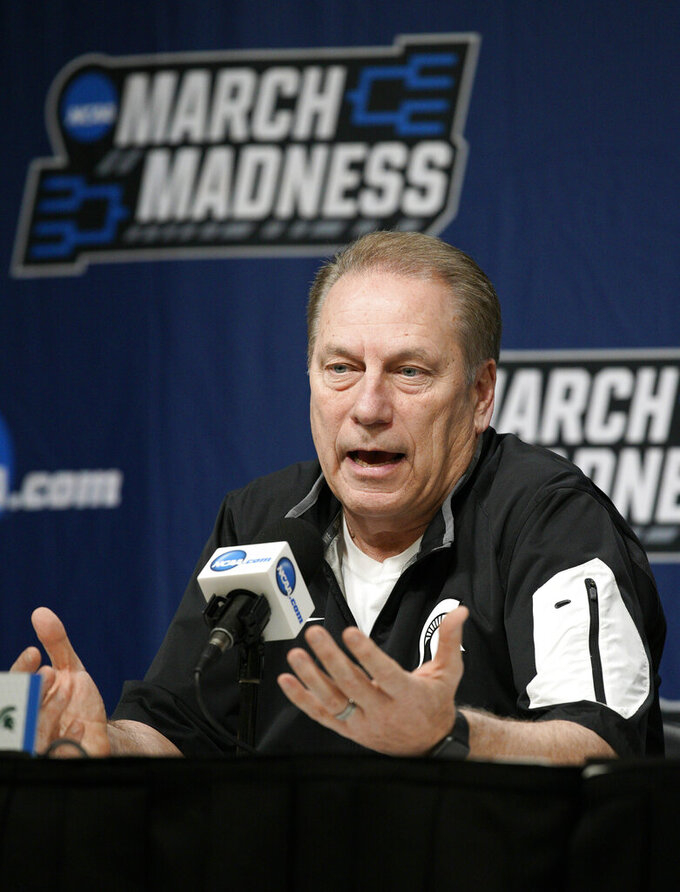 Michigan State coach Tom Izzo speaks during a news conference at the NCAA men's college basketball tournament in Des Moines, Iowa, Friday, March 22, 2019. Michigan State faces Minnesota in the second round on Saturday. (AP Photo/Nati Harnik)
