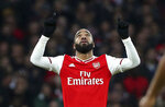 Arsenal's Alexandre Lacazette celebrates scoring his side's first goal of the game, during the English Premier League soccer match between Arsenal and Southampton, at the Emirates Stadium, in London, Saturday, Nov. 23, 2019. (Yui Mok/PA via AP)