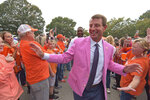 "Clemson head coach Dabo Swinney greets fans during the ""Tiger Walk"" before an NCAA college football game against Boston College, Saturday, Oct. 26, 2019, in Clemson, S.C. (AP Photo/Richard Shiro)"