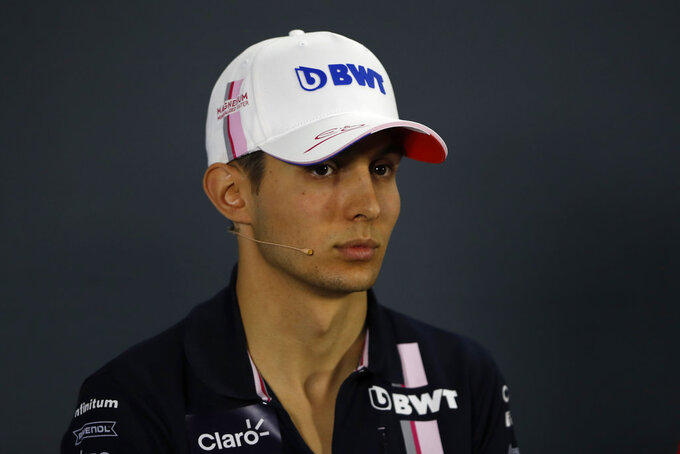 Force India driver Esteban Ocon of France attends a news conference at the Yas Marina racetrack in Abu Dhabi, United Arab Emirates, Thursday, Nov. 22, 2018. The Emirates Formula One Grand Prix will take place on Sunday. (AP Photo/Hassan Ammar)