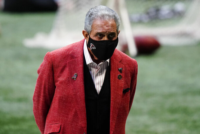 Atlanta Falcons owner Arthur Blank watches play during the second half of an NFL football game between the Atlanta Falcons and the Denver Broncos, Sunday, Nov. 8, 2020, in Atlanta. (AP Photo/Brynn Anderson)