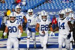 Indianapolis Colts' Jonathan Taylor (28) celebrates with teammates after scoring a touchdown during the first half of an NFL wild-card playoff football game against the Buffalo Bills Saturday, Jan. 9, 2021, in Orchard Park, N.Y. (AP Photo/Jeffrey T. Barnes)