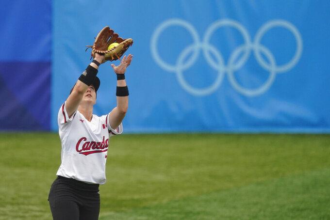 Canada's Erika Polidori catches a fly out during a softball game against Italy at Yokohama Baseball Stadium during the 2020 Summer Olympics, Monday, July 26, 2021, in Yokohama, Japan. (AP Photo/Matt Slocum)