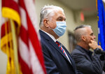Nevada Gov. Steve Sisolak provides an update on COVID-19 in Nevada at the Sawyer Building in Las Vegas on Monday, Aug. 16, 2021. (Chase Stevens/Las Vegas Review-Journal via AP)