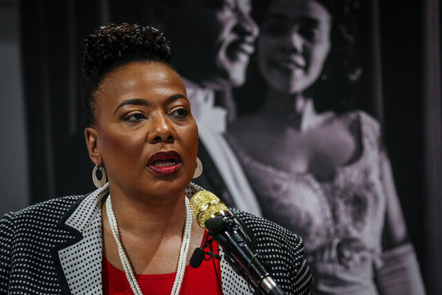 Bernice King, daughter of slain civil rights leader Rev. Martin Luther King Jr., speaks about a series of events to be held in and around The King Center, on Thursday, Jan. 9, 2020, in Atlanta. The events commemorating the birth of civil rights icon center around social justice, non-violence seminars and voter education. (AP Photo/ Ron Harris)