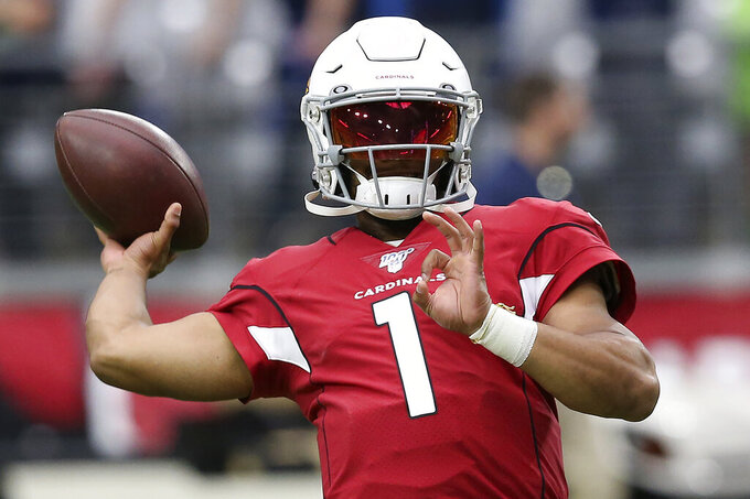 Arizona Cardinals quarterback Kyler Murray warms up prior an NFL football game against the Seattle Seahawks, Sunday, Sept. 29, 2019, in Glendale, Ariz. (AP Photo/Ross D. Franklin)