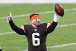 Cleveland Browns quarterback Baker Mayfield celebrates after the Browns defeated the Pittsburgh Steelers in an NFL football game, Sunday, Jan. 3, 2021, in Cleveland. (AP Photo/Ron Schwane)