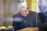 Former White House strategist Steve Bannon arrives to testify at the trial of Roger Stone, at federal court in Washington, Friday, Nov. 8, 2019. (AP Photo/Al Drago)
