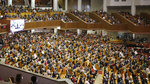 Christians attend a service while maintaining social distancing at the Yoido Full Gospel Church in Seoul, South Korea, Sunday, May 17, 2020. (Cheon Kyung-hwan/Yonhap via AP)