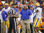 Pittsburgh coach Pat Narduzzi yells at an official during the second quarter of the team's NCAA college football game against Syracuse in Syracuse, N.Y., Friday, Oct. 18, 2019. (AP Photo/Nick Lisi)