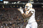 Tennessee defensive lineman Kyle Phillips (5) celebrates a stop during the first half of an NCAA college football game against South Carolina, Saturday, Oct. 27, 2018, in Columbia, S.C. (AP Photo/Sean Rayford)