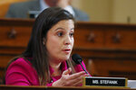 Rep. Elise Stefanik, R-N.Y., questions former Ambassador to Ukraine Marie Yovanovitch testify before the House Intelligence Committee on Capitol Hill in Washington, Friday, Nov. 15, 2019, during the second public impeachment hearing of President Donald Trump's efforts to tie U.S. aid for Ukraine to investigations of his political opponents. (AP Photo/Alex Brandon)