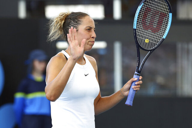Madison Keys of the United States reacts after winning a point during her match against Samantha Stosur of Australia at the Brisbane International tennis tournament in Brisbane, Australia, Wednesday, Jan. 8, 2020. (AP Photo/Tertius Pickard)