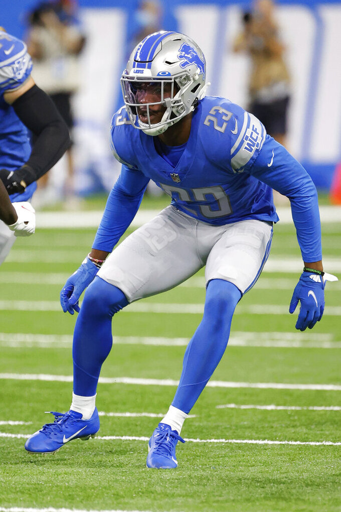 Detroit Lions cornerback Jeff Okudah (23) in action against the San Francisco 49ers in the first half during an NFL football game, Sunday, Sept. 12, 2021, in Detroit.  Okudah has a season-ending Achilles tendon injury, a person familiar with the situation tells The Associated Press, Monday, Sept. 13.  Okudah was hurt in the fourth quarter Sunday as the 49ers held on to win 41-33 against the Lions.  The person spoke on condition of anonymity Monday morning because results of his MRI had not been announced.(AP Photo/Rick Osentoski)