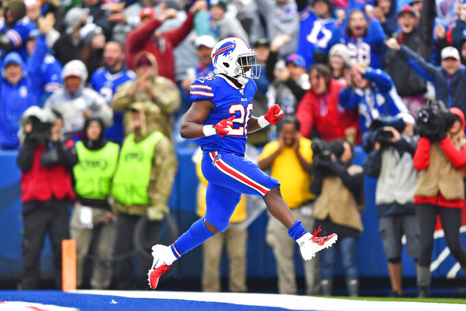 Buffalo Bills' Devin Singletary reacts after he scores a touchdown during the second half of an NFL football game against the Philadelphia Eagles, Sunday, Oct. 27, 2019, in Orchard Park, N.Y. (AP Photo/Adrian Kraus)