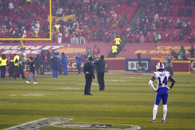 Buffalo Bills wide receiver Stefon Diggs stands on the field after the AFC championship NFL football game against the Kansas City Chiefs, Sunday, Jan. 24, 2021, in Kansas City, Mo. The Chiefs won 38-24. (AP Photo/Jeff Roberson)