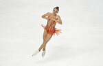 Mariah Bell of the United States competes during women's freestyle program in the International Skating Union Grand Prix of Figure Skating Series Saturday, Oct. 24, 2020, in Las Vegas. (AP Photo/David Becker)