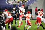 Kansas City Chiefs quarterback Patrick Mahomes (15) jumps to pass the ball during the first half of an NFL football game against the Baltimore Ravens, Monday, Sept. 28, 2020, in Baltimore. (AP Photo/Nick Wass)