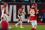 Kansas City Chiefs strong safety Tyrann Mathieu, center, reacts after an interception was called back for a penalty during the first half of the NFL Super Bowl 55 football game against the Tampa Bay Buccaneers Sunday, Feb. 7, 2021, in Tampa, Fla. (AP Photo/Lynne Sladky)