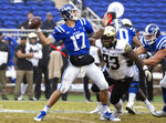 Duke Quarterback Daniel Jones (17) attempts a pass as Wake Forest's Zeek Rodney (93) pressures during the first half of an NCAA college football game in Durham, N.C., Saturday, Nov. 24, 2018. (AP Photo/Ben McKeown)