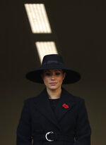FILE - In this Sunday, Nov. 10, 2019 file photo Meghan, Duchess of Sussex attends the Remembrance Sunday ceremony at the Cenotaph in Whitehall in London. The Duchess of Sussex has revealed that she had a miscarriage in July. Meghan described the experience in an opinion piece in the New York Times on Wednesday. She wrote: