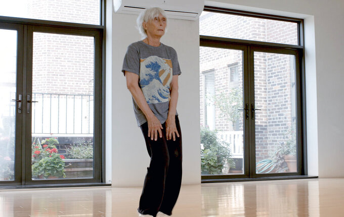 "This image released by PBS shows choreographer Twyla Tharp from the documentary, ""American Masters: Twyla Moves,"" premiering on March 26. (Stick Figure Films/PBS via AP)"