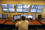 FILE – This June 1, 2018, file photo, shows a control center in the west section of the State Correctional Institution at Phoenix in Collegeville, Pa. The first phase of transferring more than 2,500 inmates from the 89-year-old state prison at Graterford to the long-delayed $400 million SCI Phoenix prison began Wednesday, July 11, 2018, according to the Pennsylvania Department of Corrections, which plans to bus hundreds of inmates a day to the new prison facility about a mile down the road until all are relocated. (AP Photo/Jacqueline Larma, File)