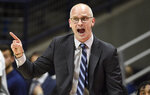 Connecticut head coach Dan Hurley reacts in the first half of an NCAA college basketball game against Temple, Wednesday, Jan. 29, 2020, in Storrs, Conn. (AP Photo/Jessica Hill)