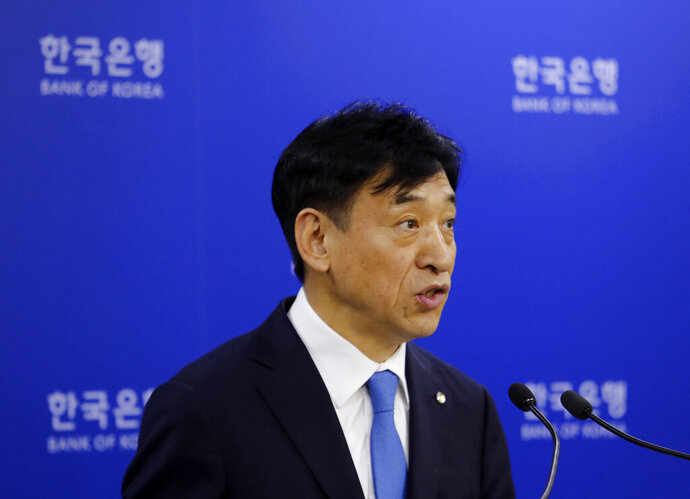 Bank of Korea Gov. Lee Ju-yeol speaks during a press conference in Seoul, South Korea, Thursday, July 18, 2019. South Korea's central bank on Thursday cut its policy rate for the first time in three years to combat a faltering economy that faces further risks from a heated trade dispute with Japan. (AP Photo/Ahn Young-joon)