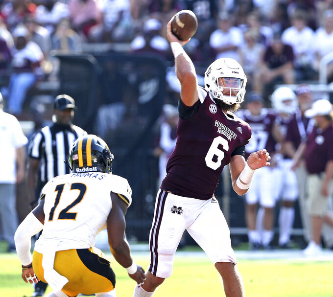 Mississippi State quarterback Garrett Shrader (6) throws a pass before being pressured by Southern Mississippi defensive back D.Q. Thomas (12) in the second half of an NCAA college football game Saturday, Sept. 7, 2019, in Starkville, Miss. Miss. St. won 38-15. (AP Photo/Jim Lytle)