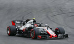 Haas driver Kevin Magnussen of Denmark steers his car during the third free practice for the Spanish Formula One Grand Prix at the Barcelona Catalunya racetrack in Montmelo, Spain, Saturday, May 12, 2018. The Spanish Formula One Grand Prix will take place on Sunday. (AP Photo/Manu Fernandez)
