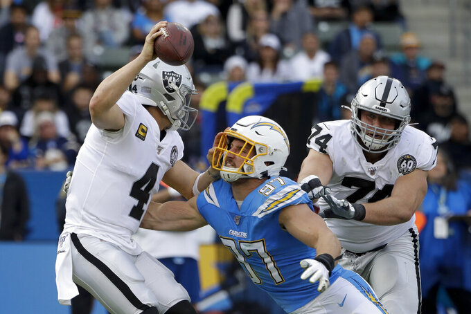 FILE - In this Dec. 22, 2019, file photo, Oakland Raiders quarterback Derek Carr is sacked by Los Angeles Chargers defensive end Joey Bosa during the first half of an NFL football game in Carson, Calif. Teams could afford recent contracts like the megabucks given to Patrick Mahomes and Bosa under normal circumstances. Because of economic effects from the coronavirus pandemic, future player deals and a salary cap that will be adjusted due to some monetary setbacks, upcoming free agents might find the marketplace tighter. (AP Photo/Marcio Jose Sanchez, File)