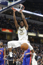 Indiana Pacers' Thaddeus Young (21) dunks during the second half of an NBA basketball game against the Detroit Pistons, Monday, April 1, 2019, in Indianapolis. Indiana won 111-102. (AP Photo/Darron Cummings)