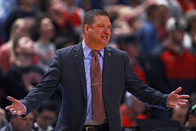 Texas Tech coach Chris Beard yells to the referees during the first half of an NCAA college basketball game against TCU, Monday, Feb. 10, 2020, in Lubbock, Texas. (AP Photo/Brad Tollefson)