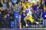 LSU running back Clyde Edwards-Helaire (22) runs for a touchdown against Arkansas during the second half of an NCAA college football game in Baton Rouge, La., Saturday, Nov. 23, 2019. (AP Photo/Matthew Hinton)