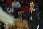 Georgia coach Tom Crean reacts against Texas A&M during an NCAA basketball game in Athens, Ga., on Saturday, Feb. 1, 2020. (Joshua L. Jones/Athens Banner-Herald via AP)