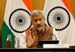 Indian Foreign Minister Subrahmanyam Jaishankar addresses a press conference to mark 100 days of Prime Minister Narendra Modi's new term in office in New Delhi, India, Tuesday, Sept. 17, 2019. (AP Photo/Manish Swarup)