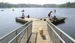 People with their dogs swarm to DeLong Lake hoping to stay cool in the record breaking heat in Anchorage, Alaska, Friday, July 5, 2019. Alaskans who routinely pack knit caps and fleece jackets in summer on Friday were swapping them for sunscreen and parasols amid a prolonged heatwave. Residents of Anchorage and other south-central cities completed a fifth week of above-normal temperatures, including a record high 90 degrees (32.22 Celsius) on Thursday, July 4, in the state's largest city. (Anne Raup/Anchorage Daily News via AP)
