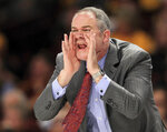 Rutgers head coach Steve Pikiell shouts during the second half of an NCAA college basketball game against Minnesota, Saturday, Jan. 12, 2019, in Minneapolis. Minnesota defeated Rutgers 88-70. (AP Photo/Andy Clayton-King)