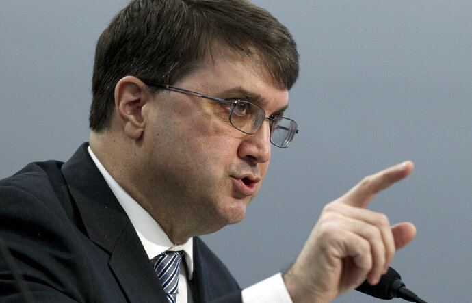 FILE - In this Tuesday, Feb. 26, 2019, file photo, Veterans Affairs Secretary Robert Wilkie testifies on Capitol Hill in Washington. Demand for answers escalated as federal officials promised Friday, Aug. 30, 2019, to conduct a sweeping investigation into suspicious deaths at Louis A. Johnson VA Medical Center in Clarksburg, W.Va. (AP Photo/Jose Luis Magana, File)