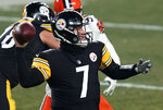 Pittsburgh Steelers quarterback Ben Roethlisberger (7) looks to throw a pass during the second half of an NFL wild-card playoff football game against the Cleveland Browns, Sunday, Jan. 10, 2021, in Pittsburgh. (AP Photo/Keith Srakocic)