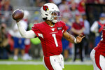 Arizona Cardinals quarterback Kyler Murray (1) throws against the Los Angeles Rams during the first half of an NFL football game, Sunday, Dec. 1, 2019, in Glendale, Ariz. (AP Photo/Rick Scuteri)