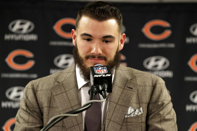 Chicago Bears quarterback Mitchell Trubisky pauses as he speaks during a news conference after an NFL wild-card playoff football game against the Philadelphia Eagles Sunday, Jan. 6, 2019, in Chicago. The Eagles won 16-15. (AP Photo/Nam Y. Huh)