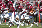 South Carolina running back A.J. Turner (25) carries the ball against Coastal Carolina during the second half of an NCAA college football game Saturday, Sept. 1, 2018, in Columbia, S.C. South Carolina defeated Coastal Carolina 49-15. (AP Photo/Sean Rayford)