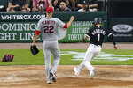 Chicago White Sox's Nick Madrigal (1) scores on a wild pitch from St. Louis Cardinals starting pitcher Jack Flaherty during the second inning of a baseball game Tuesday, May 25, 2021, in Chicago. (AP Photo/Charles Rex Arbogast)