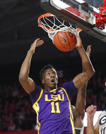 LSU forward Kavell Bigby-Williams (11) scores against Georgia during the first half of an NCAA college basketball game Saturday, Feb. 16, 2019, in Athens, Ga. (AP Photo/John Bazemore)