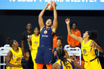 Connecticut Sun center Brionna Jones (42) pulls down a rebound against the Los Angeles Sparks during the second half of a WNBA playoff basketball game Thursday, Sept. 17, 2020, in Bradenton, Fla. (AP Photo/Chris O'Meara)